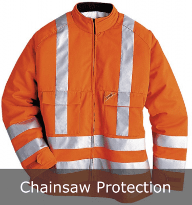 High visibility chainsaw protection