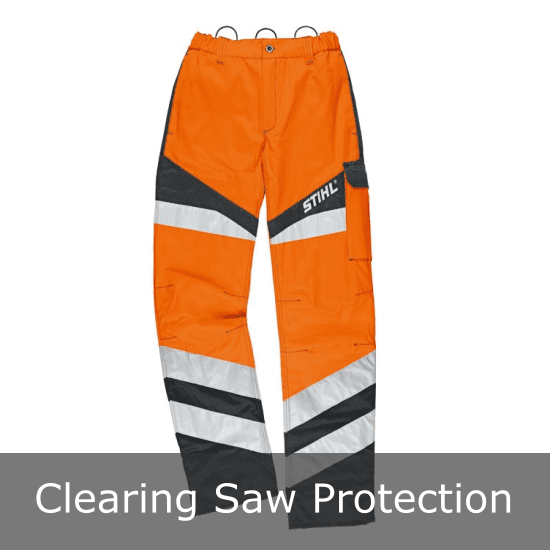 High visibility clearing saw protection